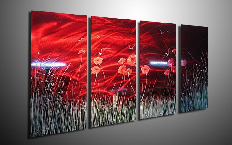 Oil Painting Wall Home Decor Metal Sculpture Flower Wall Oil Painting On Canvas Aluminum Hand Painted(China (Mainland))