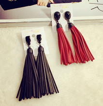 New Ethnic style Long Pu Leather Tassel Earrings for women Pendientes Fashion Jewelry black and red colors female gifts(China (Mainland))