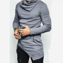 2019 남자의 높은 목 스웨터 불규칙 한 디자인 탑 남성 스웨터 솔리드 컬러 망 캐주얼 스웨터 풀 오버 스웨터 망(China)
