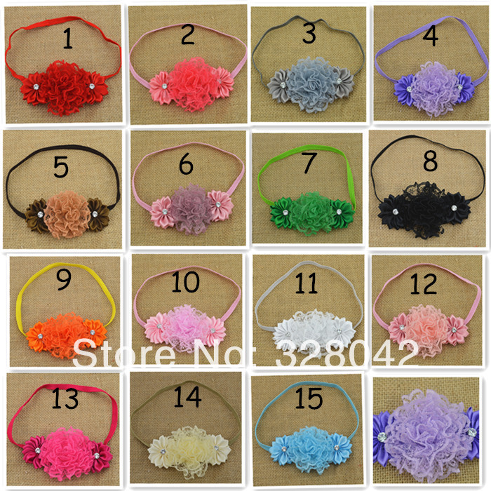 Trail order lace flower elastic Headband satin Ribbon Flower Headband For Infant Baby Girls Children hair accessories 30pcs/lot(China (Mainland))