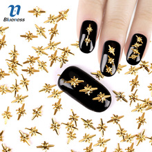 3D Nail Art Decoration About 1000Pcs/Package Japanese Style Gold 5*8mm Special Design Charms Nails Accessories PJ450(China (Mainland))