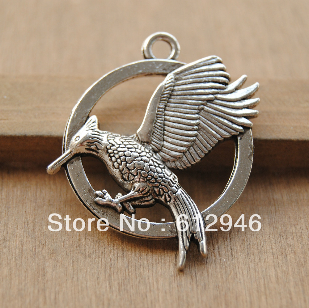 Free Shipping! 20pcs Antique Silver Hunger Games Catching Fire Pendants Jewelry Charms 26mm Bird Pendant A50(China (Mainland))