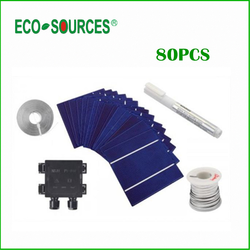 ECO Solar Cell 80Pcs 200W 0.5V A Grade 125 * 125mm PV Poly Polycrystalline Silicon Solar Cell Kits 5X5x6 for DIY Solar Panel(China (Mainland))