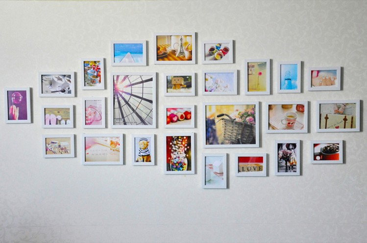 OUBONI 26pcs/lot Modern Art Decor Combination Photo Frame SM-26A-W Home Decoration Wall Frame Picture Frame Wall Hanging