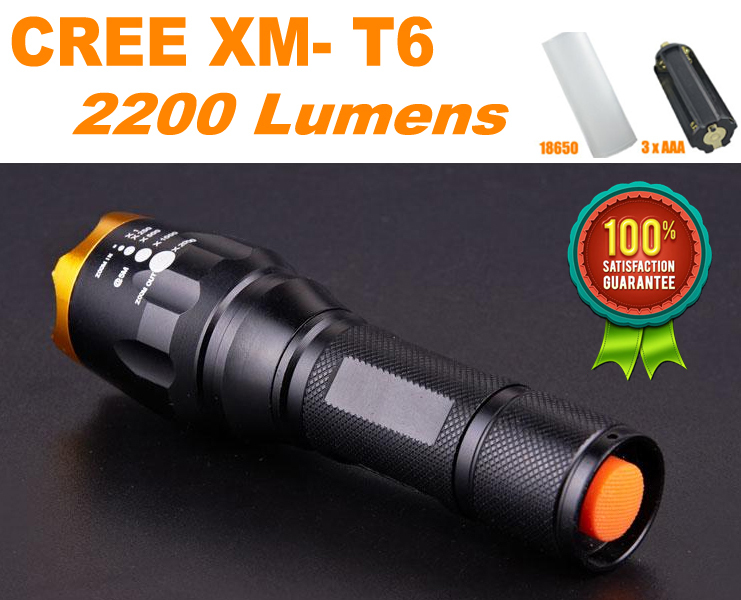 Гаджет  Waterproof CREE XM-L T6 2200 Lumen Torch Tactical Zoom Cree Led Flashlight Torch Light For3xAAA/18650 Battery lanternas led cree None Свет и освещение
