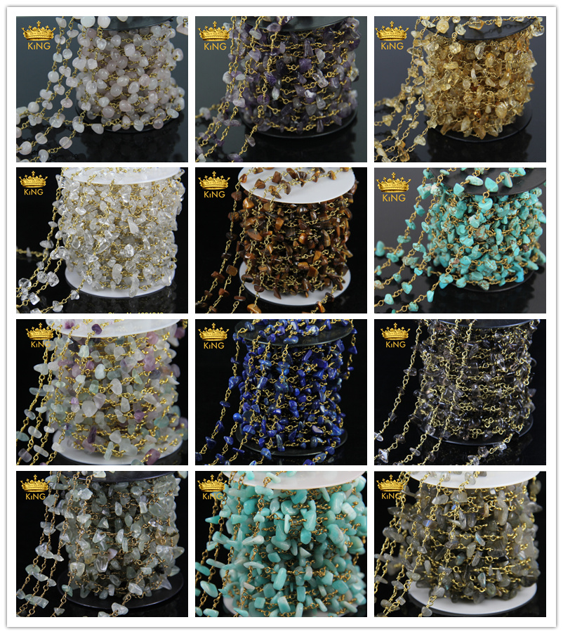 5Meter DIY Bronze Mix Stone Multi Color Wire Wrapped Beaded Rosary Chain Faceted Chip Crystal Beads for Necklace Bracelet JD029