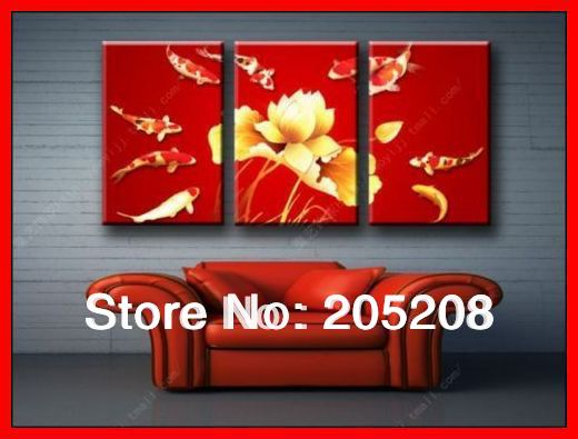 Framed 3 Panel Large Feng Shui Decoration Koi Fish Oil Painting on Canvas Chinese Style Picture Triptych Red Wall Art XD01821(Hong Kong)