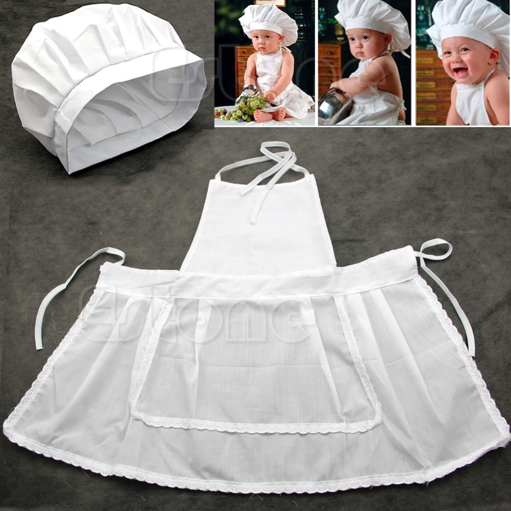 Free Shipping White Cute Baby Prop Newborn Infant Photos Photography Hat Apron Cook Costume(China (Mainland))