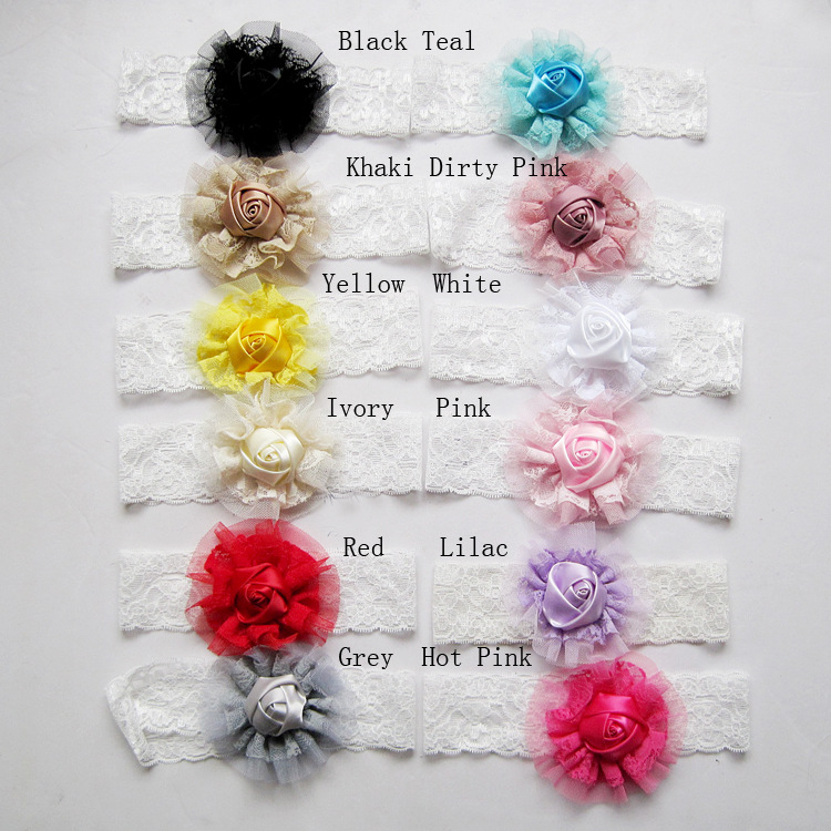 542-231 Cute newborn baby baby rose flower hair band chiffon lace scarf with elastic hair accessories headdress 12pcs/lot(China (Mainland))