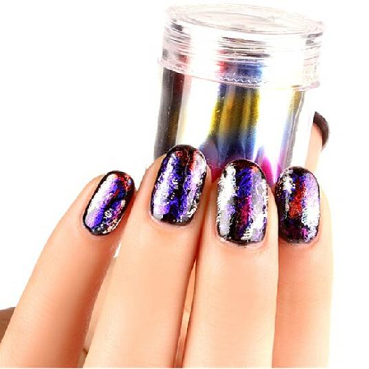 6 colors nail art transfer foils adhesive sticker to nail polish wrap nail  ...
