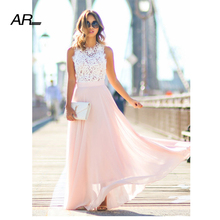 Buy AR Women Summer Dress 2017 Formal Wedding Party Long Dress Lady Elegant Lace Sleeveless Evening Party Ball Prom Gown Dress for $18.22 in AliExpress store