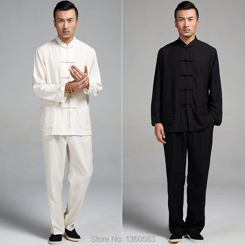 Black/White Traditional Chinese Men's kung fu clothing Long Sleeve Tang Suit clothes Cotton Linen Tai Chi Martial Arts Uniform(China (Mainland))