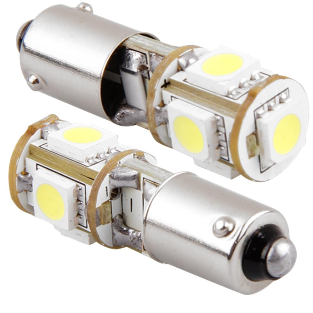 Qook 2pcs Car BA9S H6W ERROR FREE Bulbs 5050SMD White 5 LED Light 12V