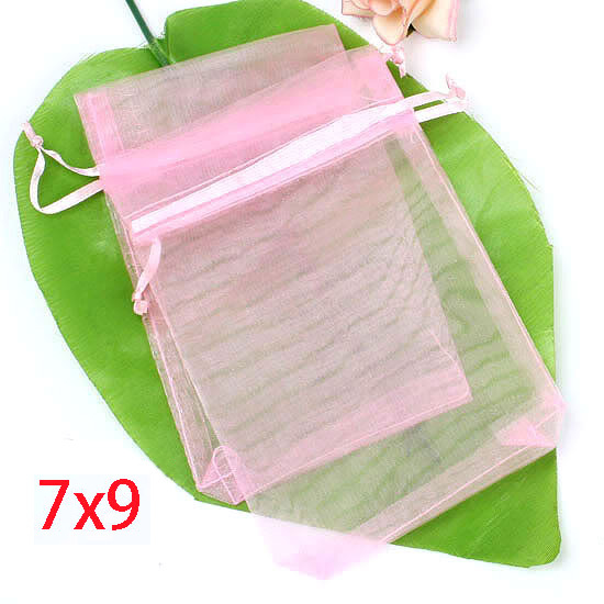 100Pcs Pink Drawable Organza Wedding Gift Bags&Pouches home storage & organization bags7x9mm(China (Mainland))