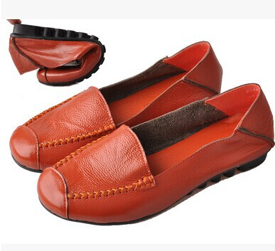 Plus Big Size 40 - 43 2014 Cowhide Genuine Leather Loafers Gommini Single Shoes Black+Blue+Orange Women Flats Boat Hight Colors Store store