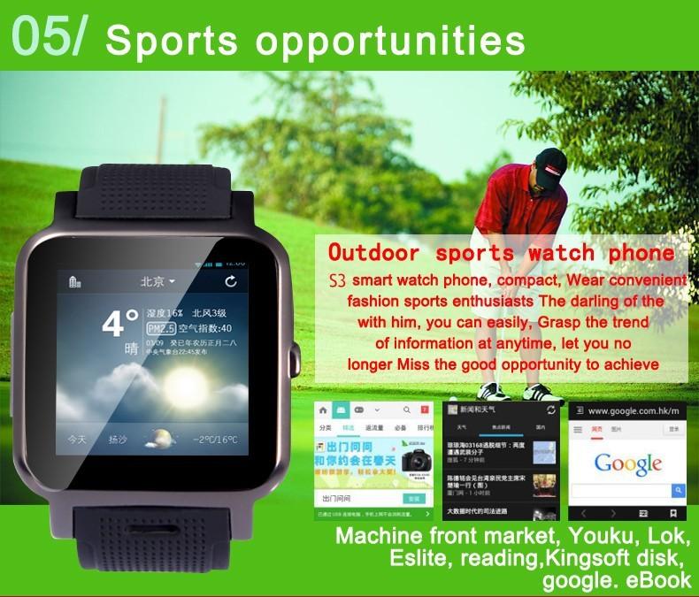 ถูก 2015มาใหม่3กรัมโทรศัพท์นาฬิกาสมาร์ทS4มือถือนาฬิกาโทรศัพท์4.2 Androidสมาร์ทโทรศัพท์นาฬิกาช่องใส่ซิมอินเตอร์เน็ตไร้สาย