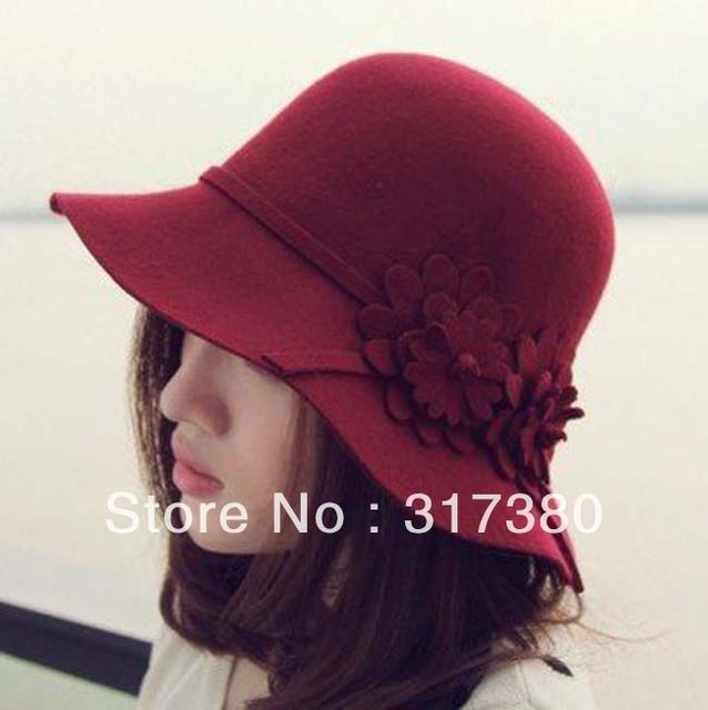 8pcs/Lot 2016 NEW Women Flower Wool Cloche Hats Winter Bucket Hat Fashion Ladies Autumn Woolen Caps Womens Spring Felt Dome Cap