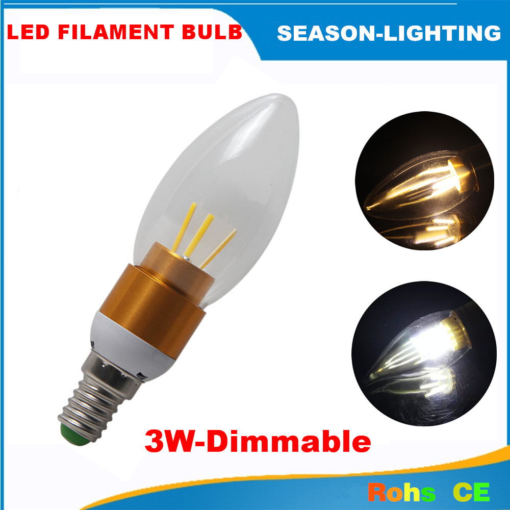 10X Led bulb candle light filament lamp E14 3W 220v dimmable warm white / white 360 degree indoor lighting CE ROHS-Free shipping(China (Mainland))
