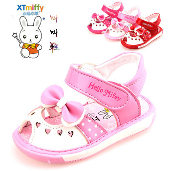 Free Shipping 1 pair Brand KIDS summer Leather Baby Sandals Girl Sound Children Shoes,Super quality Cheap Baby toddler shoes
