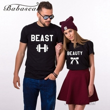 Buy Babaseal Beauty Beast Set 2 Couple T Shirt Couple Women Men Korean Women Sweet Tops Fashion Tees Unisex Femme Vetement for $6.02 in AliExpress store
