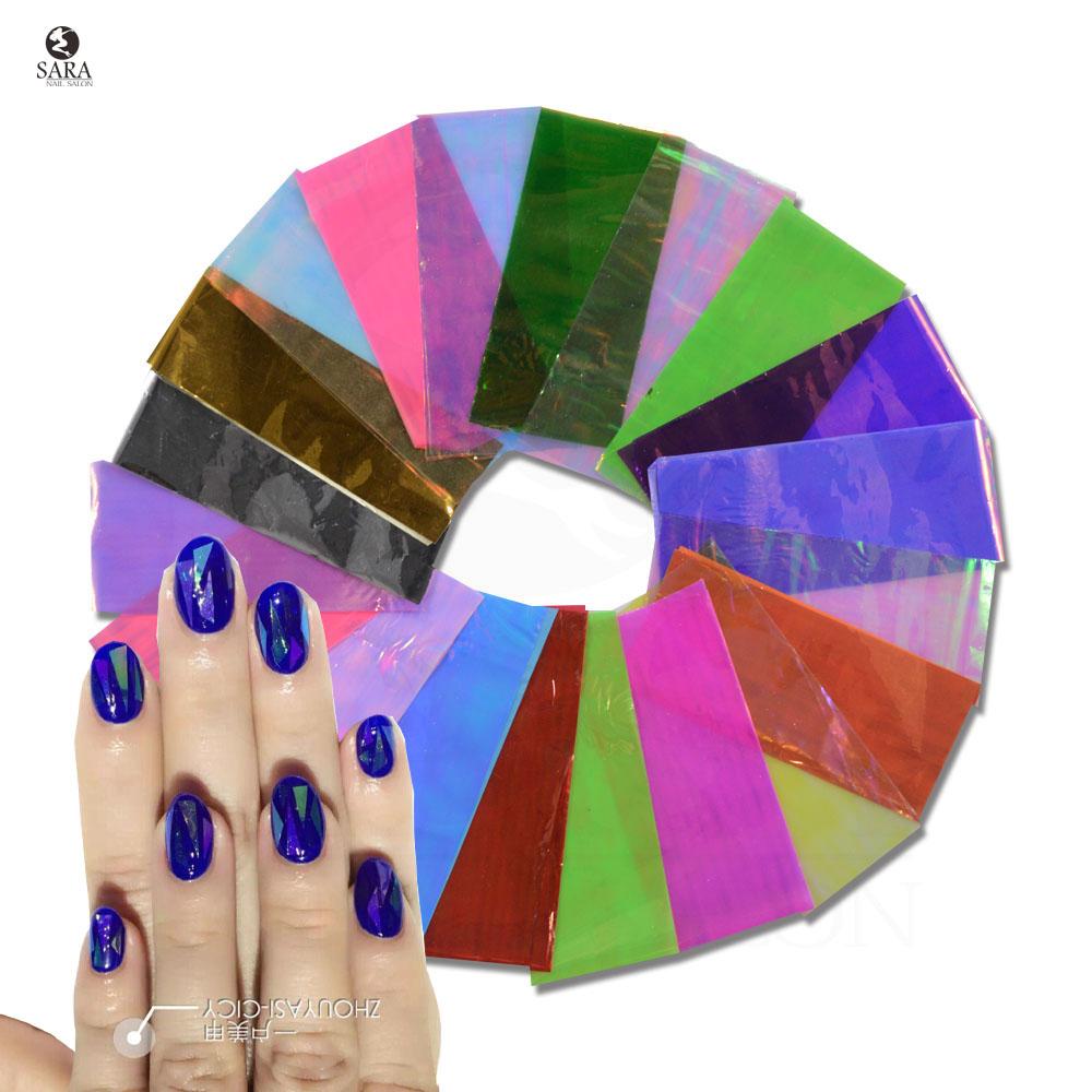 Sara Nail Salon 20pcs/lot NEW Mixed Broken Glass Pieces Mirror Foil Tips Stencil Decal Nail Art Sticker Cute Tools NJ211