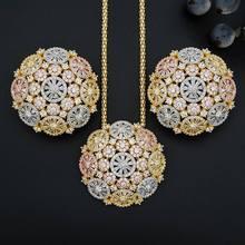 ModemAngel יוקרה עגול עדין פרח מבריק AAA מעוקב Zirconia חתונת 3 טון נשים ציצית שרשרת עגיל תכשיטים(China)