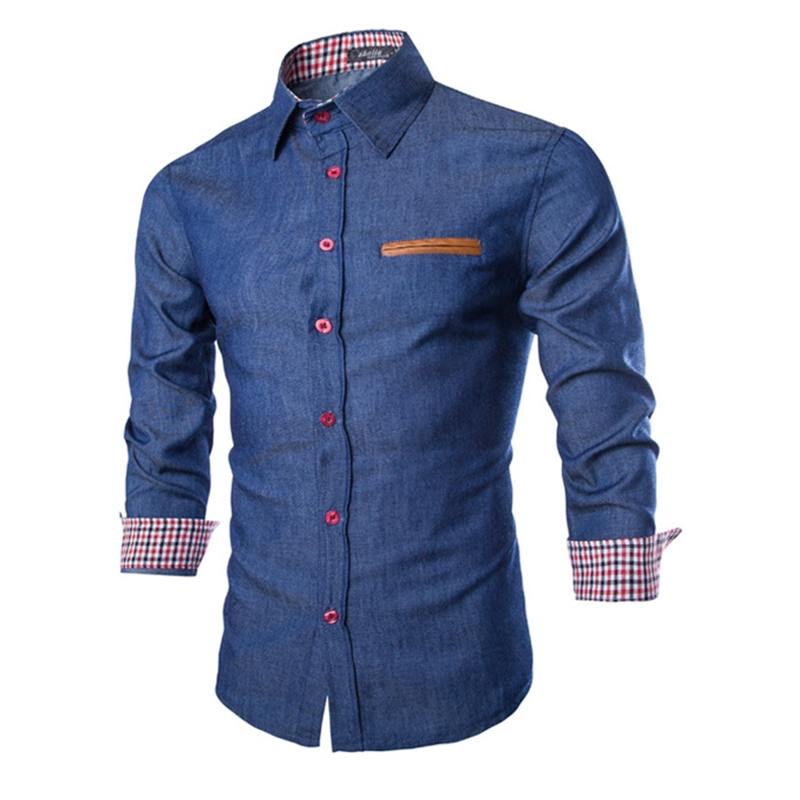 2016 New Brand Mens Denim Shirts Long Sleeve Men Dress Shirt Fashion Slim Fit Style Navy Blue ...