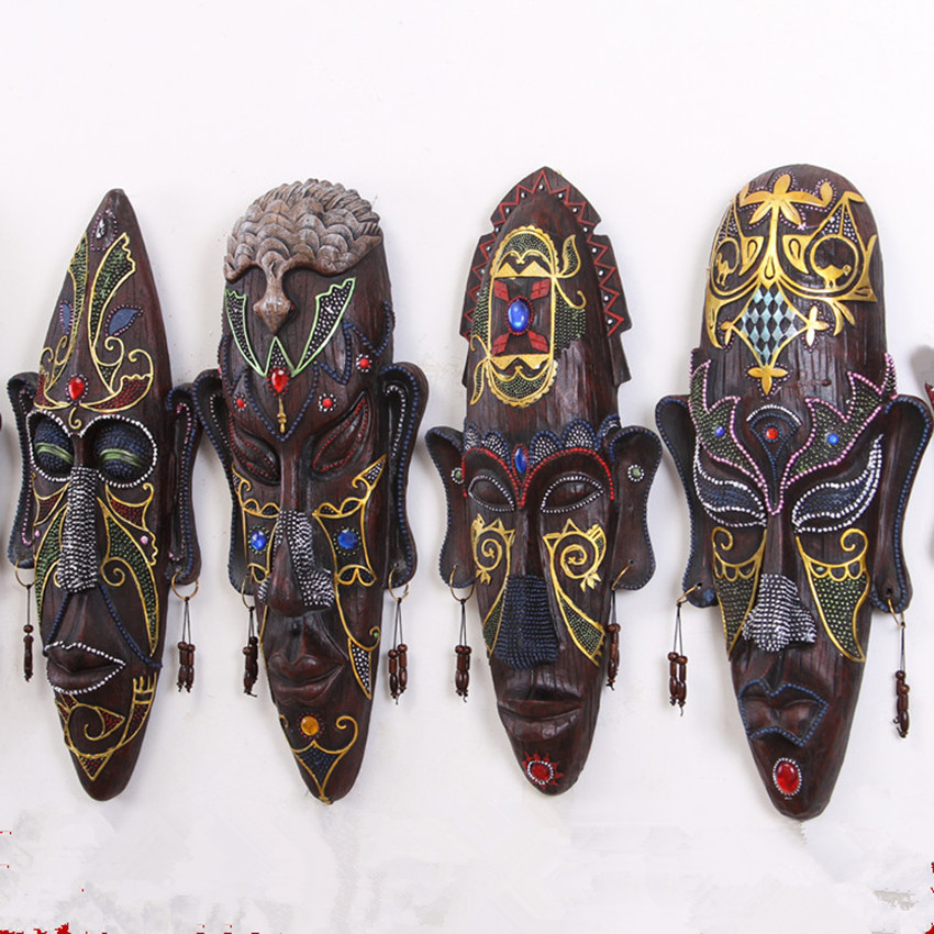 Fantastic Wild Colored Drawing African Figures Mask Wall Hanging with Earrings Original Creative Restoring Ancient KTV Bar Decor(China (Mainland))