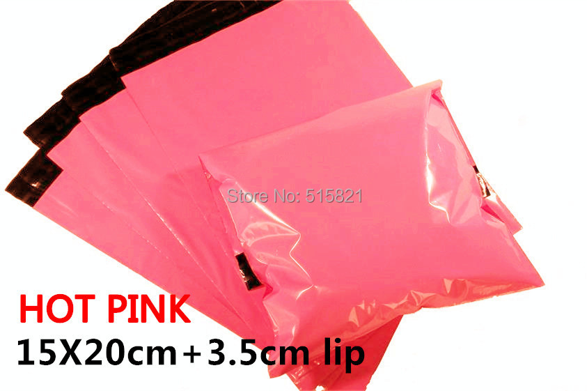 [cnklp]-Hot Pink 15x20cm+3.5cm lip Co-extruded Multi-layer SELF SEAL POLY MAILERS BAGS ENVELOPE [100PCS](China (Mainland))