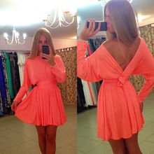 Lady Sexy backless dress Casual Loose Tunic Silm Long Sleeve Skater flared Dress Clubwear(China (Mainland))