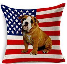 American flag with bulldog Linen pillow cases cushion covers throw pillows