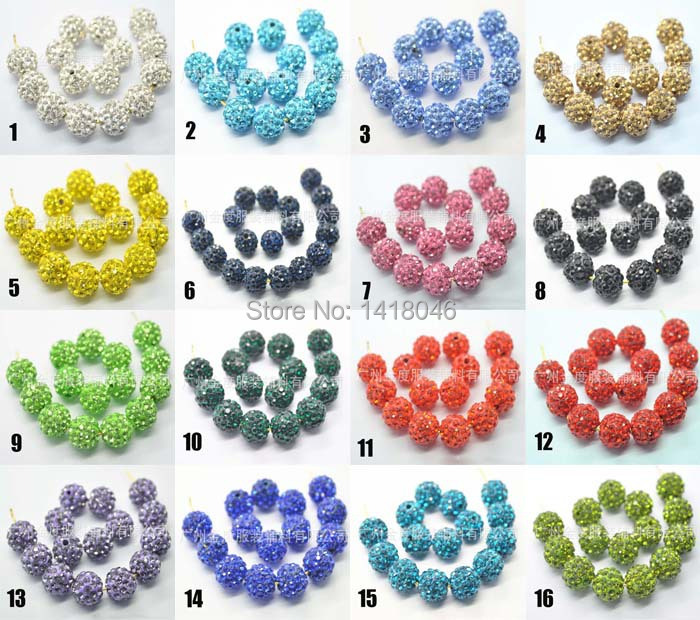25 kinds of color 100pcs/lot 10mm Gradient change Crystal Shamballa Beads DIY For jewelry making S0010(China (Mainland))