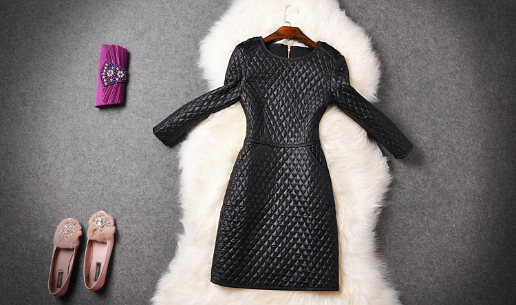 European stations new winter high-end European and American high-end brands original single quilted dress bottoming agent(China (Mainland))