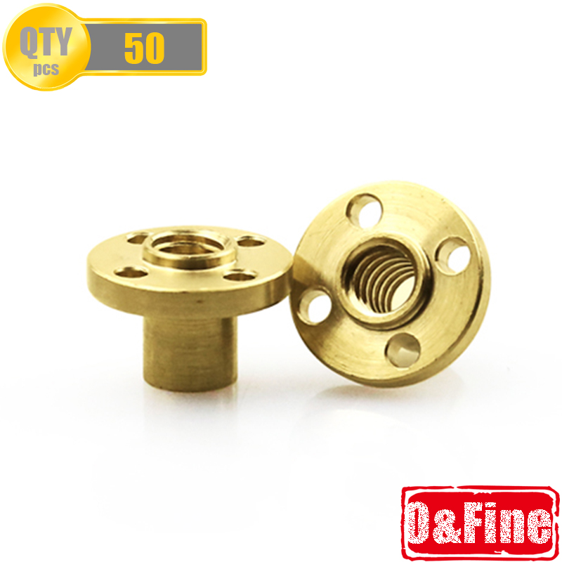 50Pcs/Lot 8mm T8 Type Lead Screw Brass Flange Nut For 3D Printer Z Axis 8mm Stainless Steel 1-Start Lead Screw By DHL or Fedex(China (Mainland))