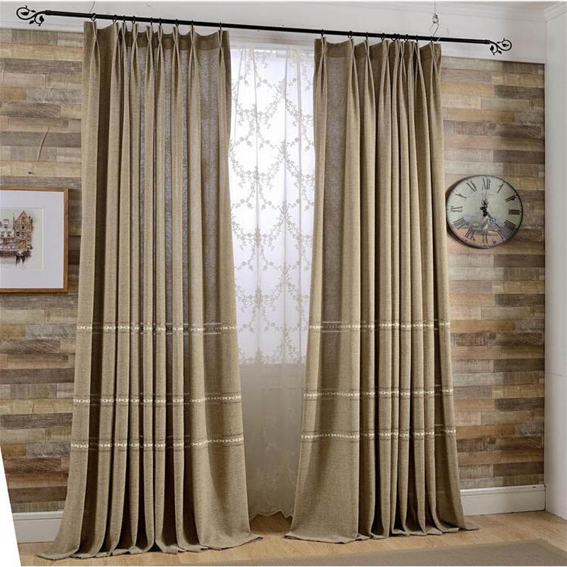 Linen Jacquard Window Curtains Process Finished Size For Living Rooms