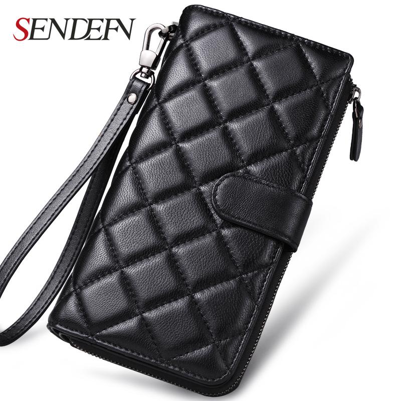 Sendefn Fashion Ladies Genuine Leather Sheepskin Wallet Plaid Clutch Long Wallet Female Card Holder Zipper Purses(China (Mainland))