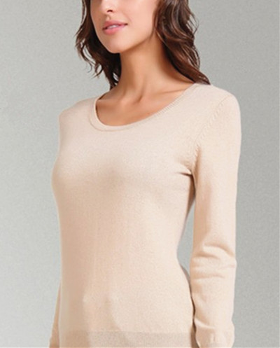 light tan low O-neck 100% goat cashmere women pullover fashion spring autumn sweater 7clrs free shipping(China (Mainland))
