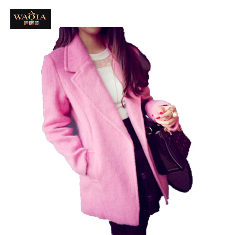 British Style Elegant Temperament Show Slim Figure Suit Collar Simple Wide Loose Winter Women Coat Pink and Yellow(China (Mainland))