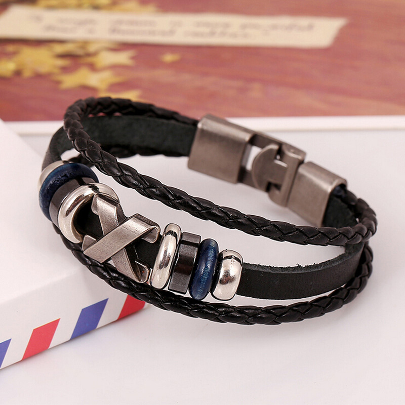 Men Leather Bracelet 2015 Trendy Summer Cross Charm Bracelets Bangles Hand Weaving Multilayer Black Wristband Jewelry