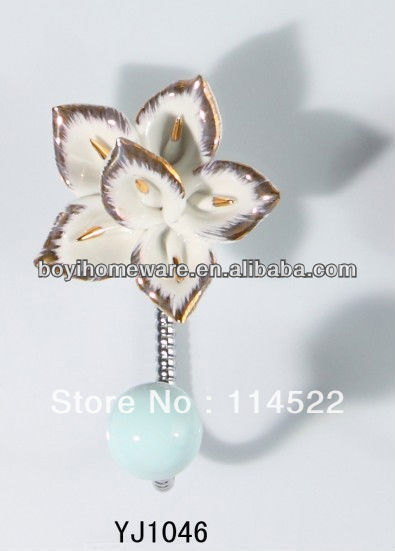 new design single hook with colored ceramic flower and knob ball coat hook coat hanger towel hook wholesale YJ1046