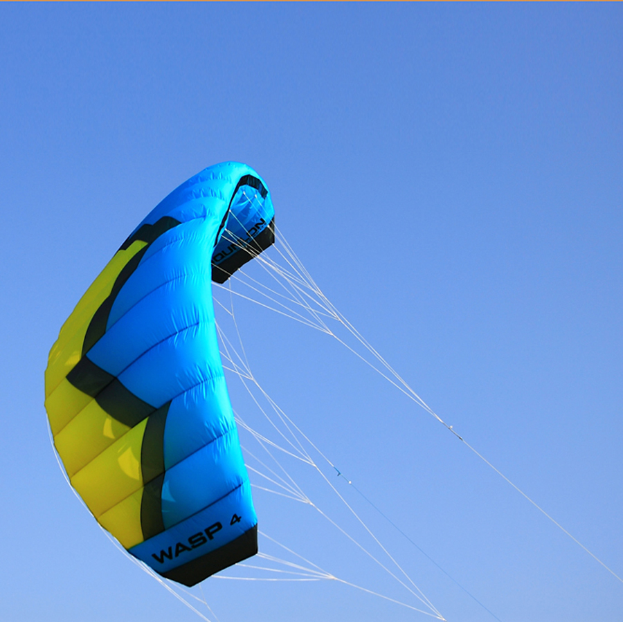 4Sqm Quad Lines Power Parafoil Parachute Kite / Sports Surfing / Traction Kite With Carry Bag in Blue(China (Mainland))