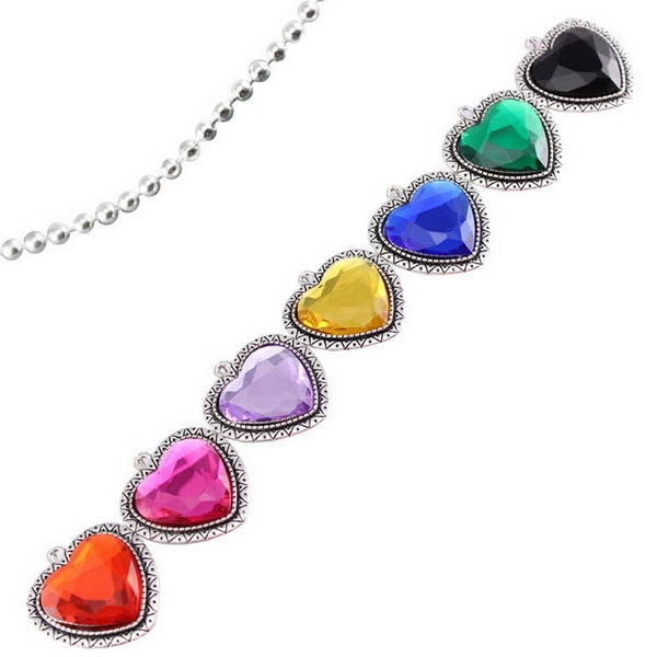 Fashion Jewelry Hot Sale Necklaces & Pendants Heart of Ocean Glass Alloy Birthday Flower Girl Cosplay Gift for Girl 1pcs/lot(China (Mainland))