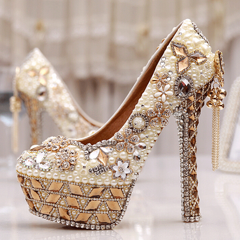 Size 34-43 Plus Size Gorgeous High Heel Crystal Wedding Shoes Cinderella Crystal Shoes Pearl Gem Ivory White Prom Bridal Pumps(China (Mainland))