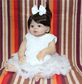 New 22 Lifelike Full Body Silicone Reborn Baby Boy Doll white dress with pacifier bottle bebe