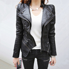 Women's Spliced Snake Doulbe Lapel & Shrug Shoulder Pads Faux Leather Biker Jacket Zipper Exposed Asymmetric Coat(China (Mainland))