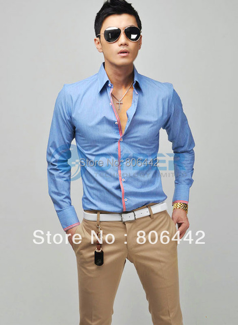 2012 New Korean Fashion Stylish Casual shirts Slim Fit Long Sleeve Men's Shirt Tops 4 Color 4 Size free shipping 36