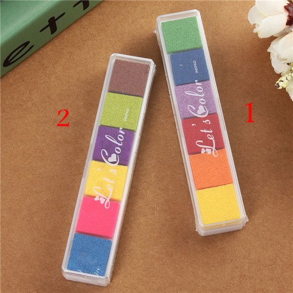 6 colors Cute Inkpad Craft Oil Based DIY Ink Pad for Rubber Stamps for Fabric Paper