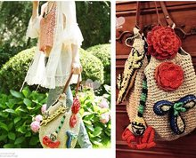 10Pcs/lot Wholesale Women Fashion Flower Bow Beach Straw Handbag