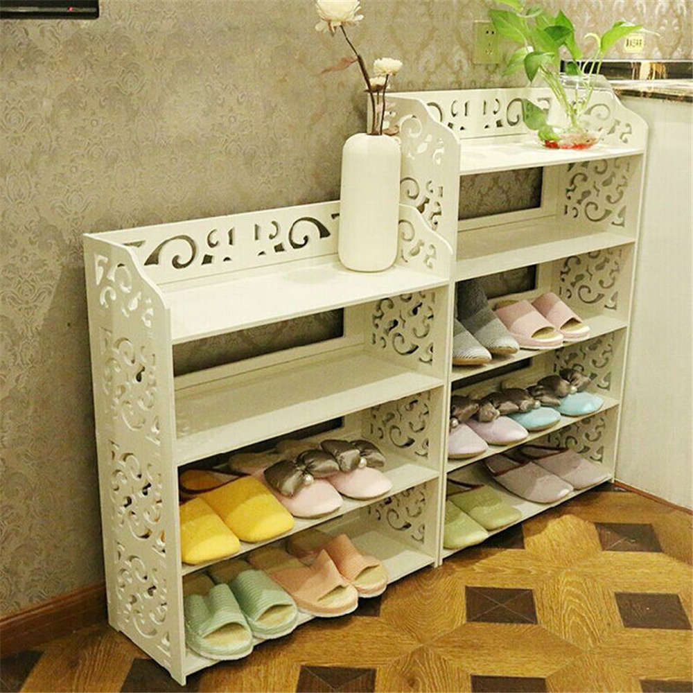 1Pcs White Wood Carving Shelf Storage Home Organizer 3/4/5 Tier Shoe Shoes Rack Holder(Hong Kong)