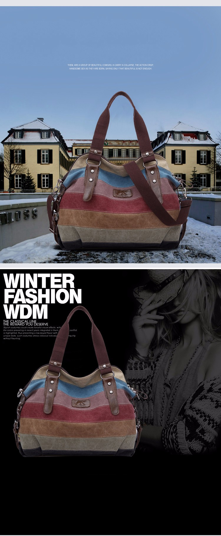 Contrast Color Striped Handbag Color-matching Canvas Hobo Bag Women Fashion Casual Durable Large Shoulder Bag Handbag